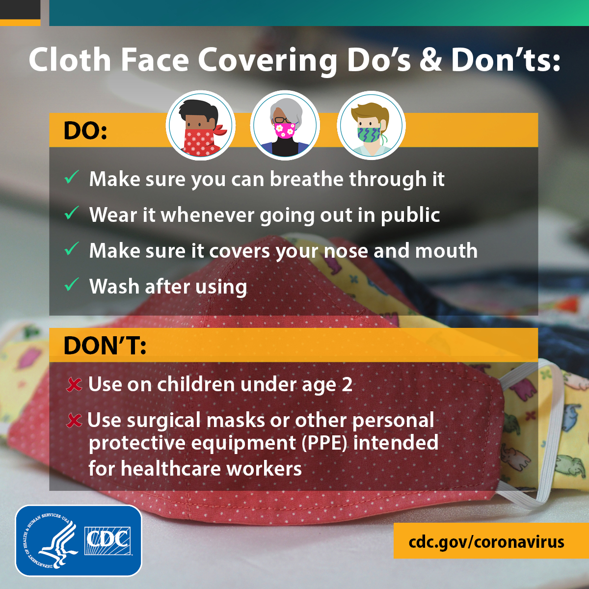 Facing covering do's and don'ts